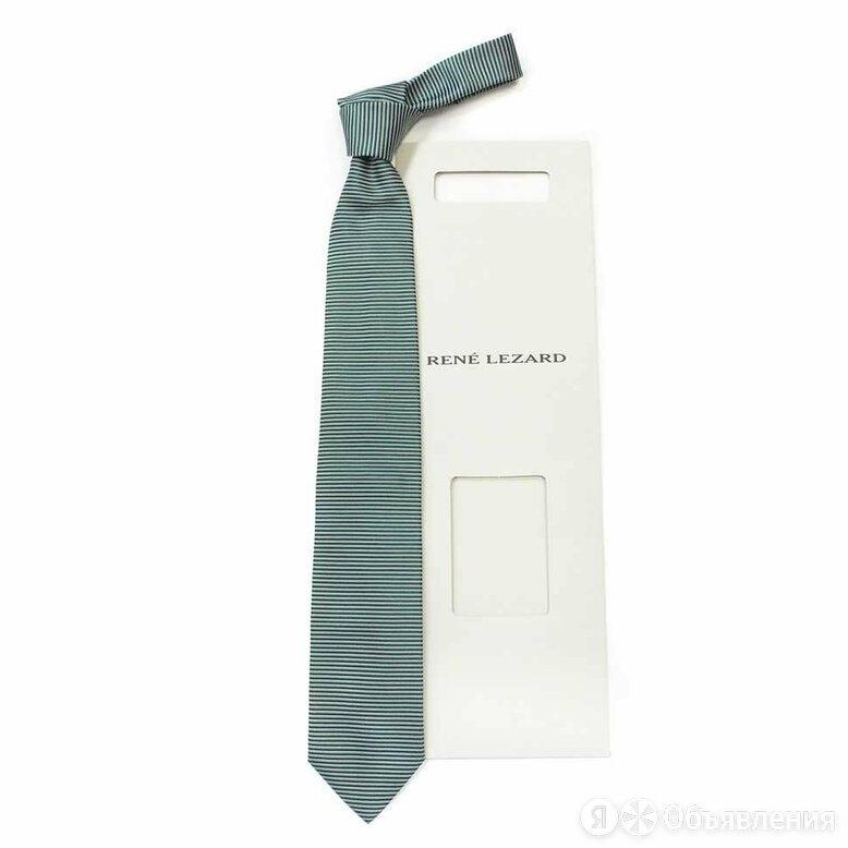 Шелковый галстук в поперечную зеленую полоску Rene Lezard 822627 по цене 3500₽ - Галстуки и бабочки, фото 0