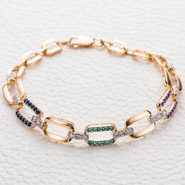 Комплекты - Браслет с бриллиантами, изумрудами и рубинами из красного золота, 0