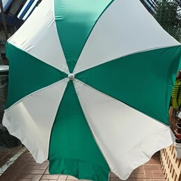 Зонты от солнца - Зонт пляжный садовый д.2.0м Бел/зел.новый, 0
