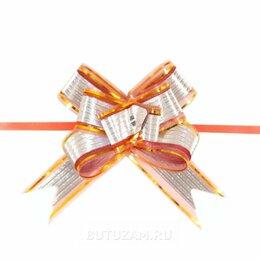 Подарочная упаковка - Бант-затяжка органза 3 см, красный с серебром, 0