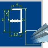 Шторы - Профиль врезной для окантовки 19мм Серебро матовое (3м) ДР 1-09, 0