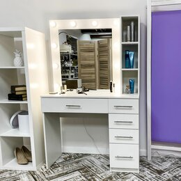 Столы и столики - Гримёрный столик и гримёрное зеркало с подсветкой, 0