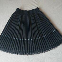 Юбки - Школьная юбка плиссе с кокеткой, р.128, 0