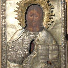 Иконы - икона Вседержитель,латунный оклад,большая, 19 век, 0