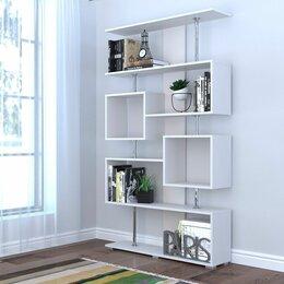 Стеллажи и этажерки - Стеллаж книжный Стенли белый 1812х990х266мм лдсп, 0