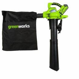 Воздуходувки и садовые пылесосы - Воздуходув-Пылесос аккумуляторный Greenworks GD40BV ,40v , бесщ , без АКБ  И ЗУ., 0