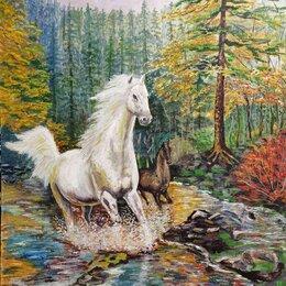 Картины, постеры, гобелены, панно - Картина маслом. Лошадь с жеребенком. , 0