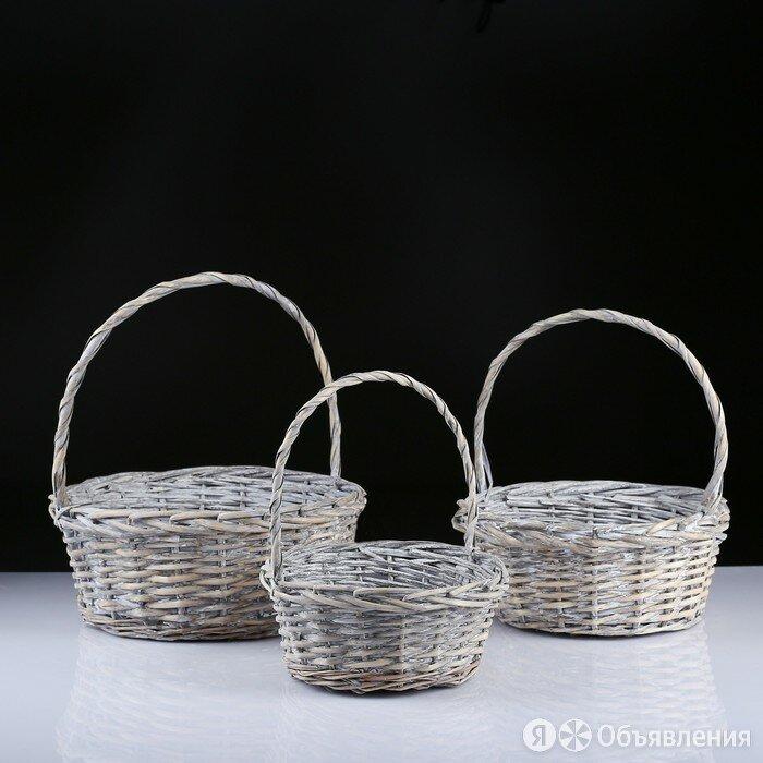 Набор корзин плетёных, ива, 3 шт., серо-бежевый цвет, средние по цене 3077₽ - Корзины, коробки и контейнеры, фото 0