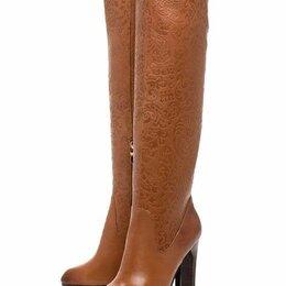 Сапоги - Кожаные сапоги-ботфорты на высоком каблуке, р.38, 0