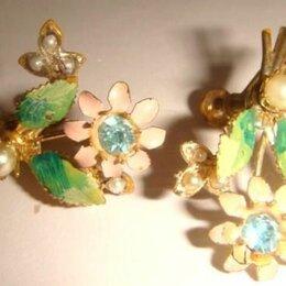 Серьги - Клипсы серьги нежные цветы, 0