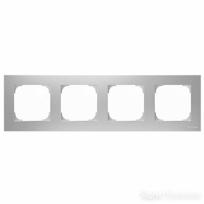 Рамка 4-постовая ABB Sky серебристый алюминий 2CLA857400A1301 по цене 3711₽ - Электроустановочные изделия, фото 0
