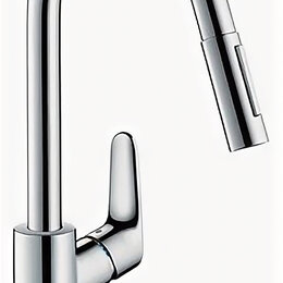 Краны для воды - Hansgrohe Смеситель для мойки Hansgrohe Focus 31815000 с вытяжным изливом, 0