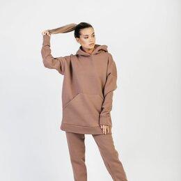 Спортивные костюмы - Костюм объемный худи с капюшоном и брюки (флис) / молочный шоколад, 0