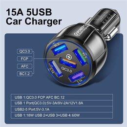 Зарядные устройства и адаптеры - Автомобильное зу  5xusb, qc3.0+2.4a, 0