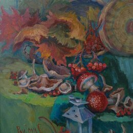 "Картины, постеры, гобелены, панно - Картина "" Мухоморы "" натюрморт, 0"