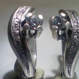 Серьги - Серьги серебро СССР 925 проба с фианитом, 0