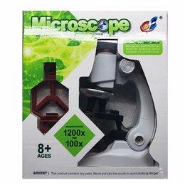 Детские микроскопы и телескопы - Наша Игрушка Микроскоп детский 100х увеличение, 3 объектива, держатель смартф..., 0