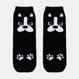 Домашняя одежда - Носки женские махра-пенка «Собака» цвет чёрный, р-р 23-25 (р-р обуви 36-40), 0