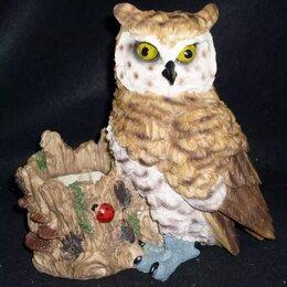 Садовые фигуры и цветочницы - Кашпо Большая сова (филин) полистоун, 0