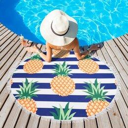 Туалетная бумага и полотенца - Полотенце пляжное круглое Этель 'Ананасы',диаметр 150 см, 100  п/э, 0
