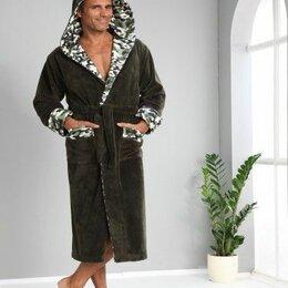 Домашняя одежда - Мужской махровый халат с капюшоном Nusa Bamboo 3XL зеленый. Турция , 0