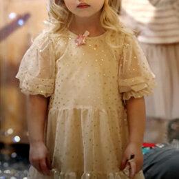 Платья и сарафаны - Платье Zara, из прозрачной ткани с блестками, р-р 134, 0