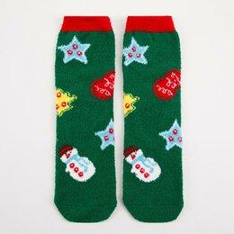 Домашняя одежда - Носки женские махра-пенка Нжмп2258-29-06 Новый год цвет зелёный, р-р 23-25 (р..., 0
