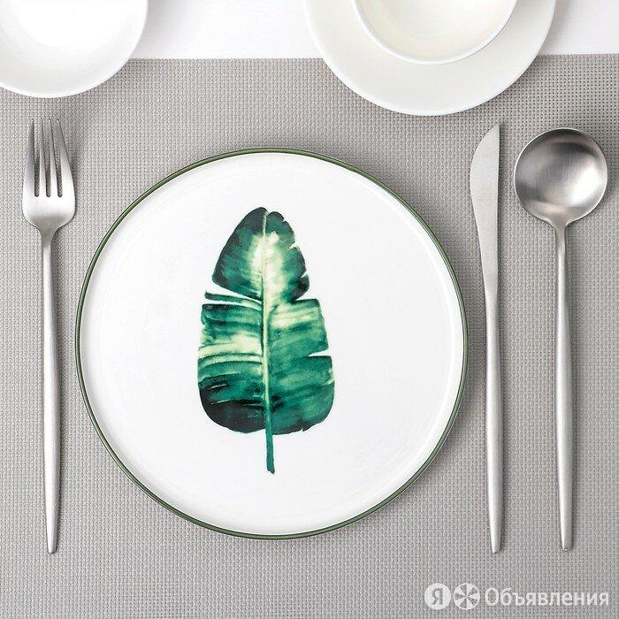 Тарелка десертная 'Ботаника Пальма', d20 см, цвет белый/зелёный по цене 588₽ - Вазы, фото 0