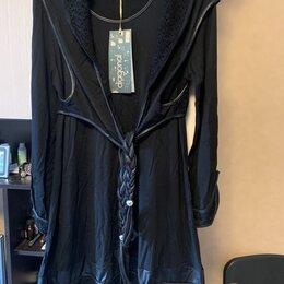 Костюмы - Платье костюм с кожаной отделкой , 0