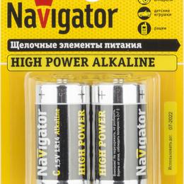 Батарейки - Элемент питания алкалиновый 94 754 NBT-NE-LR14-BP2 (блист.2шт) Navigator..., 0
