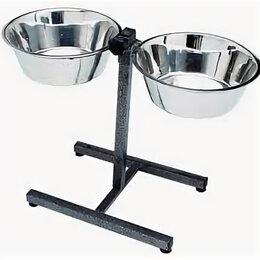 Туалеты и аксессуары  - Подставка догман для собак с металл. мисками 2*0,35л , 0