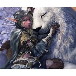 Диваны и кушетки - Девушка-эльф с белым львом Артикул : GFR 5093, 0