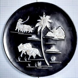 Декоративная посуда - НА РИСОВОМ ПОЛЕ тарелка декоративная 196мм дерево лак инкрустация перламутр, 0
