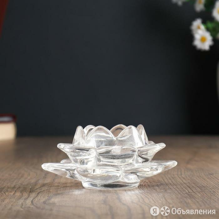 "Подсвечник стекло ""Лотос"" 12х12х5,5 см по цене 528₽ - Подсвечники, фото 0"