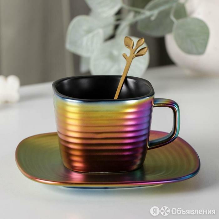 Чайная пара Rainbow, чашка 200 мл, блюдце d=14,5 см, ложка по цене 1420₽ - Сервизы и наборы, фото 0