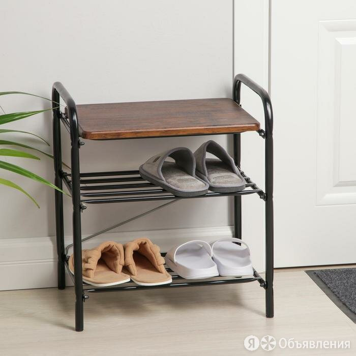 Банкетка для обуви с сиденьем Nika Б2/ДА , цвет чёрный по цене 2032₽ - Стеллажи и этажерки, фото 0