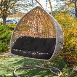Подвесные кресла - Подвесное кресло. Двойной кокон Дабл Премиум. Качели садовые ротанг, 0
