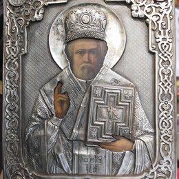 Иконы - икона Николай Чудотворец,оклад латунь,глубокое серебрение, 19 век, 0