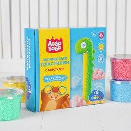 Лепка - Набор шарикового мелкозернистого пластилина с блестками ДобрБобр, 4 цвета, 50..., 0