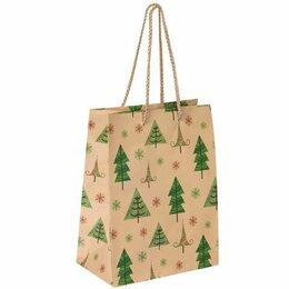 Упаковочные материалы - Пакет  бумаж/лам  17.8*22.9*9.8см, Елочки и снег, 0
