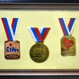 Дипломы, медали, значки - Медали марафона SIM в раме со стеклом, 0