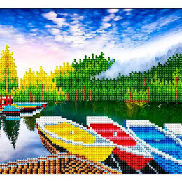 Мозаика - Алмазная мозайка Яркие лодочки 30*40см. с подр., с частичным заполнением, 0
