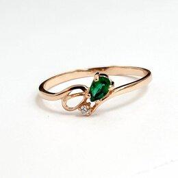 Кольца и перстни - Золотое кольцо с бриллиантом и изумрудом, 0