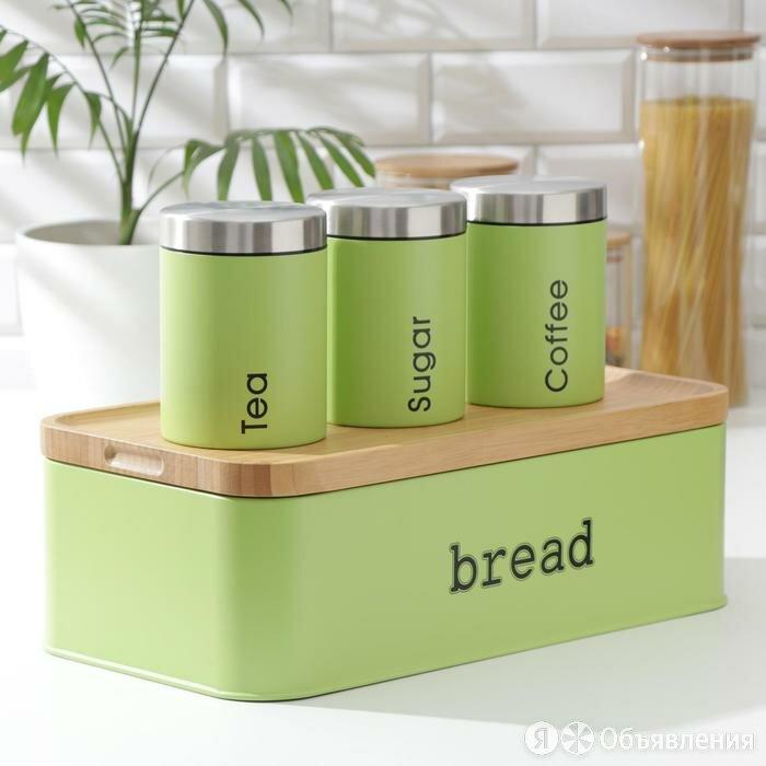 Набор банок для сыпучих продуктов Prime, 3 шт, с ложками, с хлебницей, цвет с... по цене 6300₽ - Контейнеры и ланч-боксы, фото 0