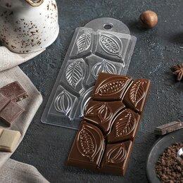 Формы для льда и десертов - Форма для шоколада «Какао дольки», 7×15×1 см, 0