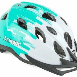 Защита и экипировка - Велошлем подростковый с сеточкой AUTHOR Trigger INMOLD, бело-зеленый (Размер: , 0