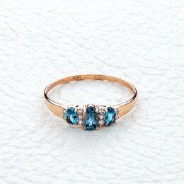 Кольца и перстни - Кольцо с 3 топазами и 10 фианитами из красного золота, 0