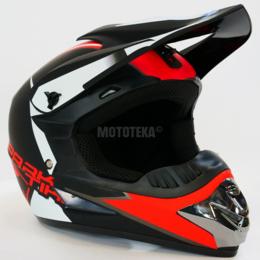 Спортивная защита - Шлем Motax (Мотакс) детский кроссовый матово-черный-красный (G6), 0