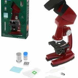 Детские микроскопы и телескопы - Наша Игрушка Микроскоп детский, 90х увеличение, 3 объектива, аксессуары, эл.п..., 0
