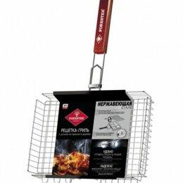 Решетки - Решётка-гриль объёмная с ручками из красного дерева Forester, 26х38 см, нержа..., 0